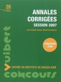 Annales corrigées session 2007 : Entrée en instituts de masso-kiné