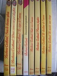 B. cartland - lot 8 titres (sous le charme gitan - deux coeurs au gré des flots - le signe de l'amour - innocente imposture - fuite vers l'amour - princesse fugitive - le diademe de l'amour - la marié