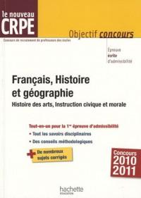 Français, Histoire et géographie : Histoire des arts, Instruction civique et morale
