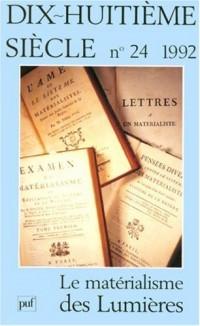 Le Matérialisme des Lumières n°24 1992