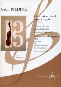 Concertino dans le style hongrois en ré mineur Opus 21 original pour violon et piano, pour alto et piano
