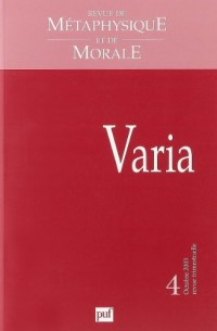 Revue de métaphysique et de morale, numéro 4 - 2003 : Varia