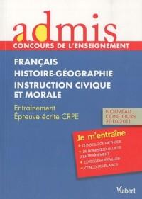 Admis - concours de l'enseignement, professeur des écoles, français, histoire-géographie, instruction civique et morale