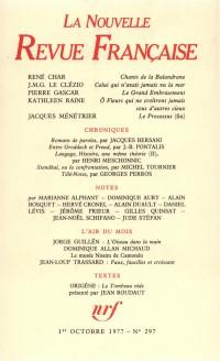 La Nouvelle Revue Française, N° 297, Octobre 1977