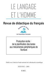 Le Langage et l'Homme, 38-2 (2003)