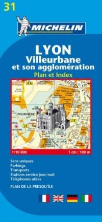Lyon, Villeurbanne et son agglomération : Plan et index, 1/10 000
