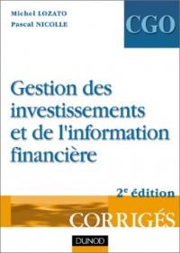 Gestion des investissements et de l'information financière - Processus 4 et 5 : Corrigés