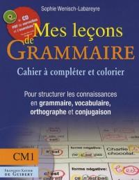 Mes leçons de grammaire CM1 : Manuel à compléter et à colorier pour structurer les connaissances en grammaire, vocabulaire, orthographe, conjugaison (1Cédérom)