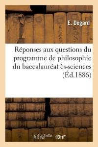 Reponses de Philosophie du Bac Es  ed 1886