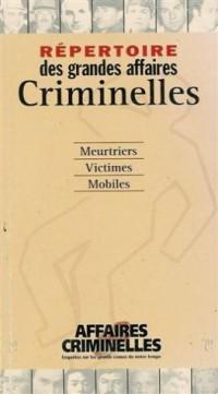 Répertoire des grandes affaires criminelles : Affaires criminelles : Meutriers : Victimes : Mobiles