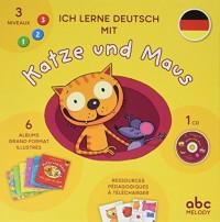 Ich lerne Deutsch mit Katze und Maus : Coffret en 6 volumes : So schöne Farben ! ; Schau mal, die Tiere ! ; Das schmeckt gut ! ; Wir gehen shoppen ! ; Komm zu mir ! ; Wie geht es dir ? (1CD audio)