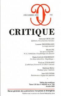 Critique, N° 703, Décembre 200 :