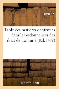 Table des ducs de lorraine  ed 1769