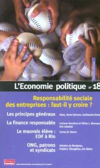L'économie politique.nø18 des entreprises socialement responsables