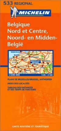 Carte routière : Belgique Nord et Centre - Noord- & Midden-België, N° 11533 (bilingue néerlandais-français)