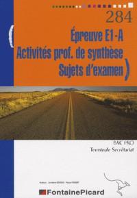 Epreuve E1-A Activités professionnelles de synthèse Sujets d'examen Bac Pro Tle Secrétariat