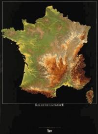 Poster relief de la France 80x60cm : 1/1 400 000