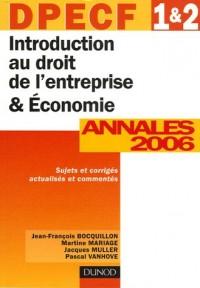 Introduction au droit de l'entreprise & Economie DPECF 1 & 2 : Annales