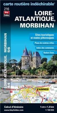 Loire-Atlantique (44), Morbihan (56) - Carte Routiere Departementale Touristique D216 1/180000