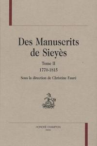 Des manuscrits de Sieyès : Tome 2, 1770-1815