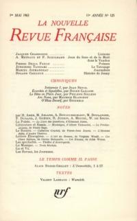 La N.R.F., numéro 125, mai 1963