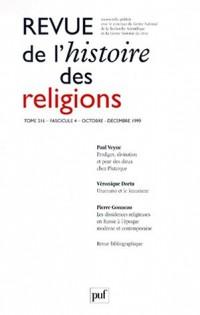 Revue d'histoire religieuse, numéro 4, tome 216, 1999
