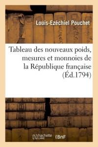 Tableau des Nouveaux Poids  ed 1794