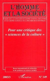 Pour une critique des sciences de la culture