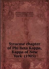 Syracuse chapter of Phi Beta Kappa, Kappa of New York (1905)