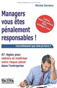 Managers vous êtes pénalement responsables ! : 67 règles pour réduire et maîtriser le risque pénal dans l'entreprise