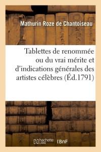 Tablettes de Renommee  Vrai Merite  ed 1791